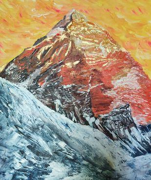 Mt Everest Digital Print by Deepali Sinha,Abstract