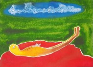 After Death by Shishir Pandey, Expressionism Painting, Watercolor on Paper, Olive Drab color