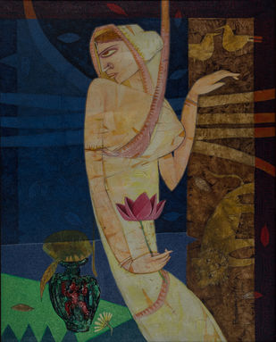 The Lady by Biswajit Mondal , Expressionism Painting, Acrylic on Canvas, Ebony Clay color