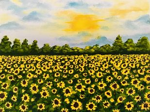 Sunflower Field by Meenakshi , Expressionism Painting, Acrylic on Canvas, Waiouru color