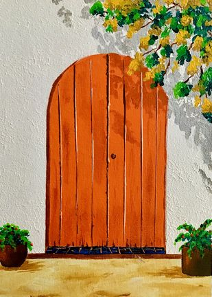 The Door by Meenakshi , Expressionism Painting, Acrylic on Canvas, Ash color