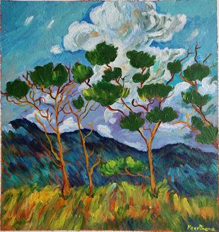 Acacia trees by Keerthana, Expressionism Painting, Acrylic on Canvas, Mineral Green color