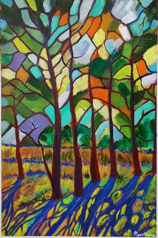 Mosaic trees by Keerthana, Expressionism Painting, Acrylic on Canvas, Ship Gray color