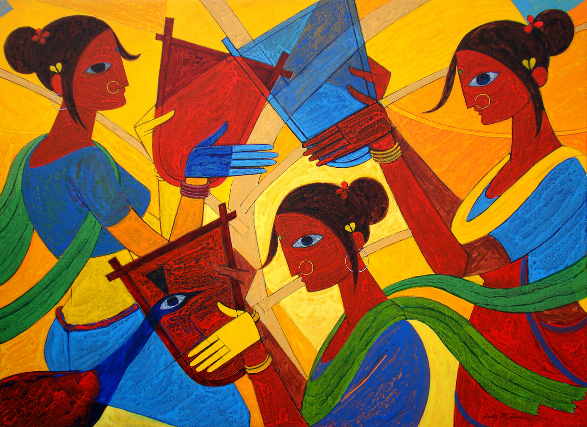 Tribal Women Digital Print by Jiaur Rahman,Expressionism