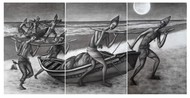 Tiny Dream by Uttam Bhattacharya, Expressionism Painting, Charcoal on Canvas, Sonic Silver color