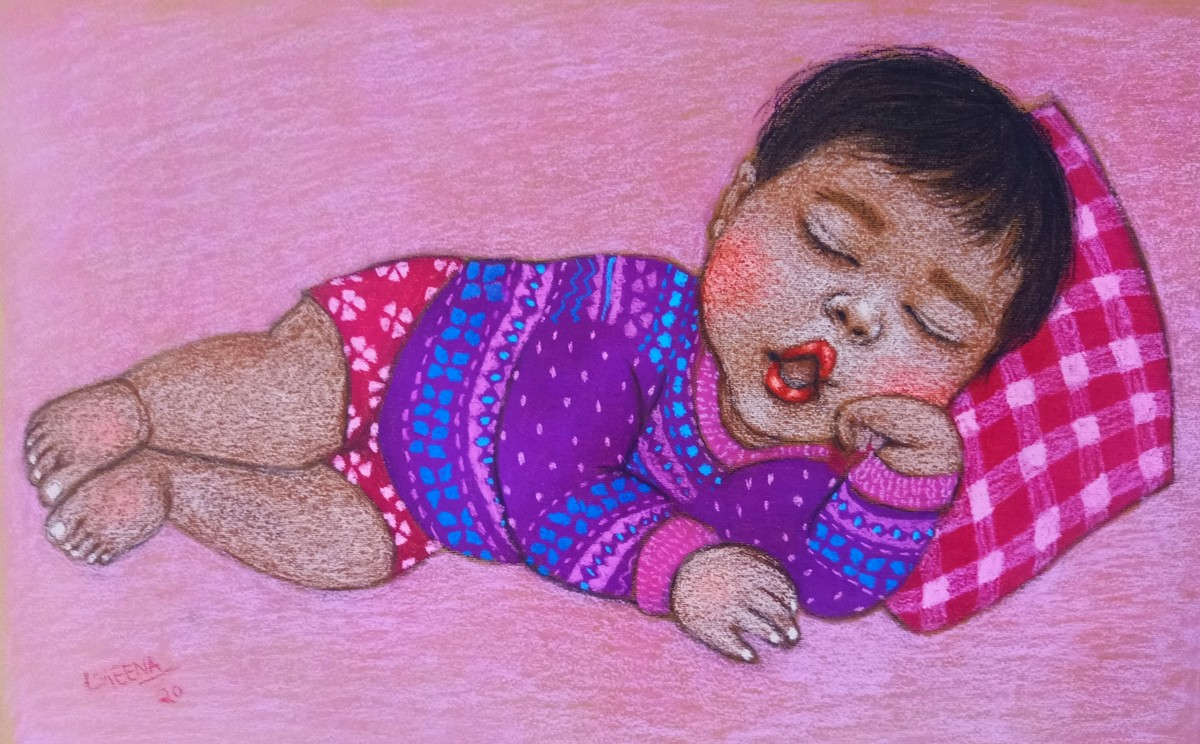 Lullaby 9 by Meena Laishram, Expressionism Painting, Dry Pastel on Paper, Viola color
