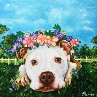 Dog in a garden by Manvee Singh, Expressionism Painting, Acrylic on Canvas, Wafer color