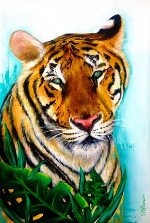 Tiger by Manvee Singh, Expressionism Painting, Acrylic on Canvas, Moon Mist color