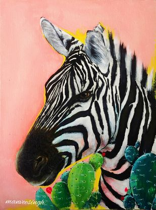 Zebra in desert by Manvee Singh, Expressionism Painting, Acrylic on Canvas, Shilo color
