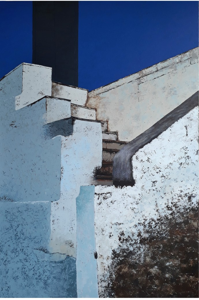 childhood memories III by Sandeep Ghule, Geometrical Painting, Acrylic on Canvas, Slate Gray color