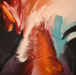 Poetics of emotions LXXII by Kandan G, Abstract Painting, Acrylic on Board, Tumbleweed color