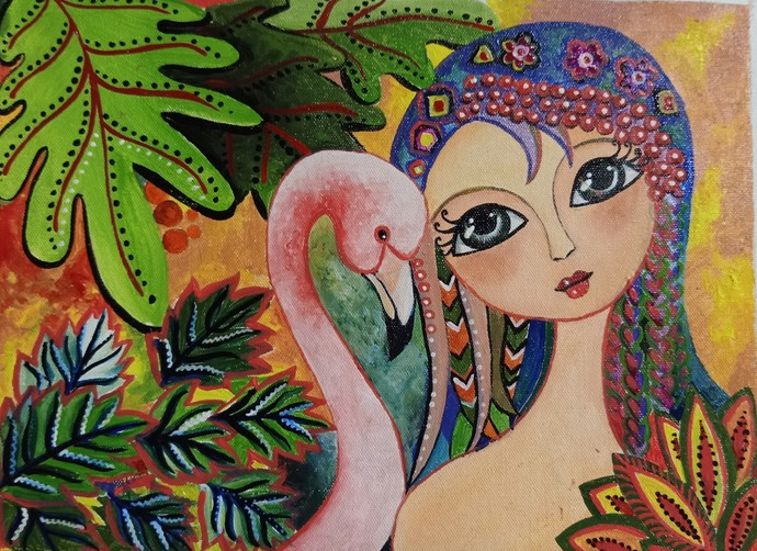 Whimsical painting - FlamingoPink by Swati Chavan, Fantasy Painting, Acrylic on Canvas, Taupe color