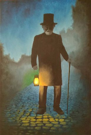 Old man with a lantern by Murad, Expressionism Painting, Oil on Canvas, Judge Gray color