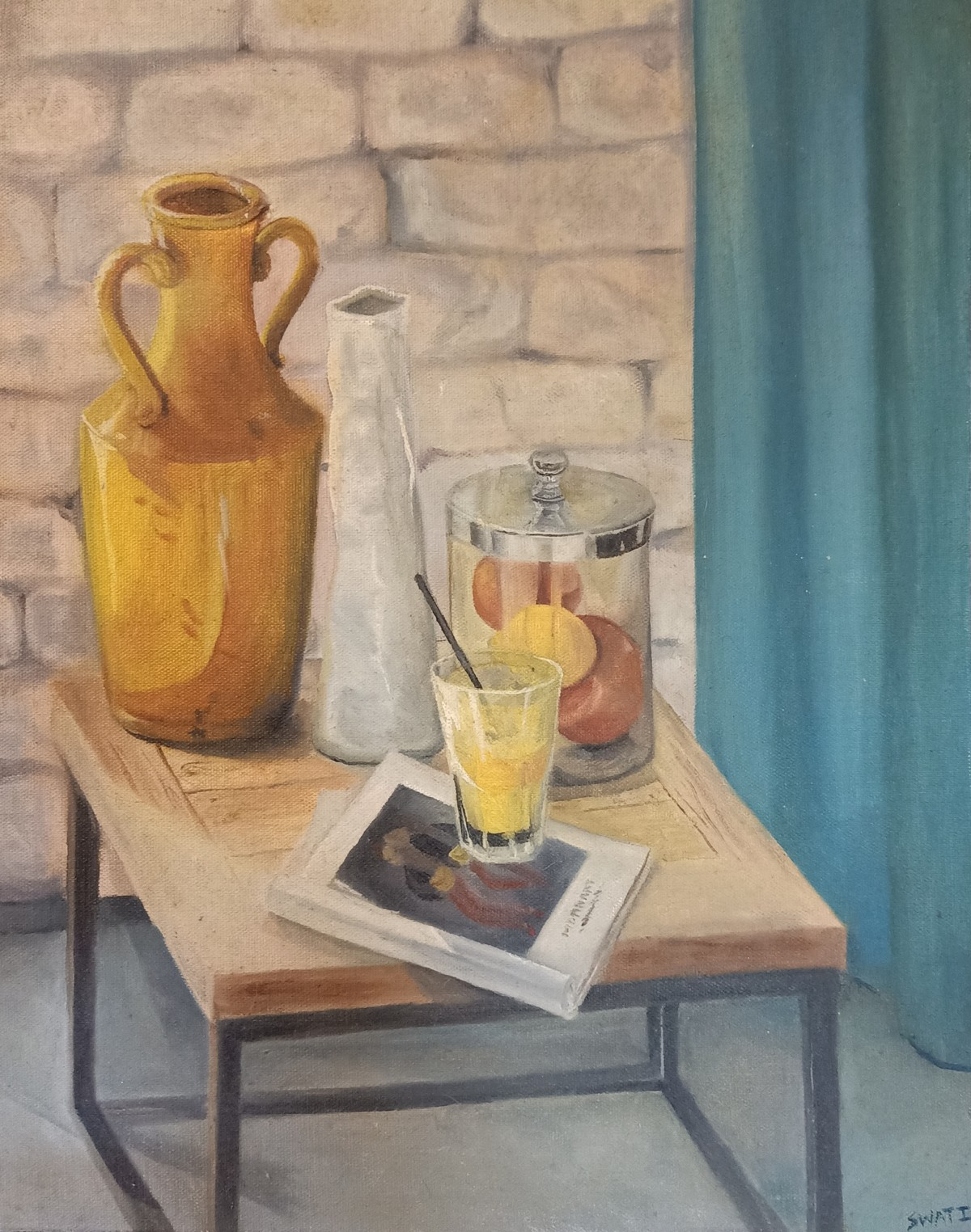 Yellow vase and glass jar with lemon by Swati Chavan, Impressionism Painting, Oil on Canvas Board, Mongoose color