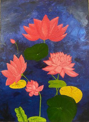 Sacred Lotus Digital Print by Uttara ,Expressionism