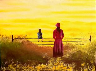 Waiting for a father and a husband by Murad, Expressionism Painting, Oil on Canvas, Golden Dream color