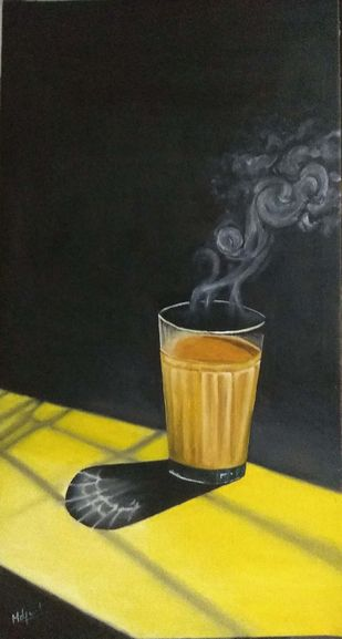 Mumbai Special Cutting by Murad, Expressionism Painting, Oil on Canvas, Wattle color