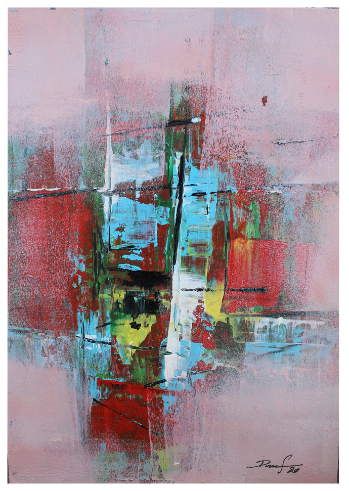 untitled-5 by Ravi Kumar A S, Abstract Painting, Acrylic on Paper, Lilac Luster color