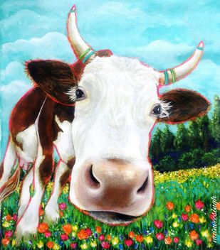 Mooo by Manvee Singh, Expressionism Painting, Acrylic on Canvas, Botticelli color