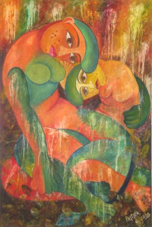 COW WITH CALF IN THE SENCE OF MOTHER WITH CHILD by Pritika Seda, Expressionism Painting, Oil on Canvas, Dirt color