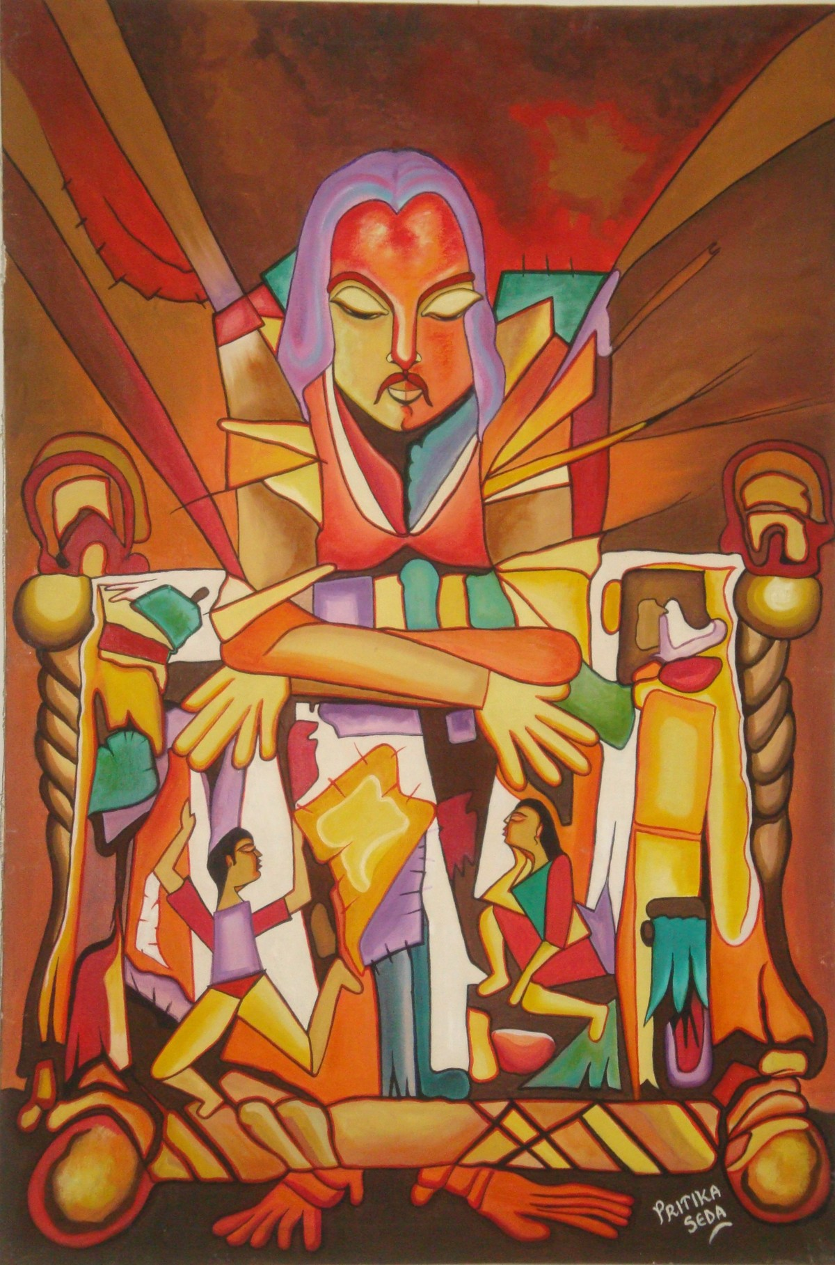 MODERN PUPPET by Pritika Seda, Cubism Painting, Oil on Canvas, Burnt Umber color