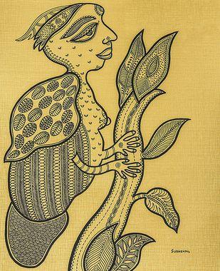 Waiting by Subhendu Ghosh , Folk Painting, Ink on Board, Tacha color