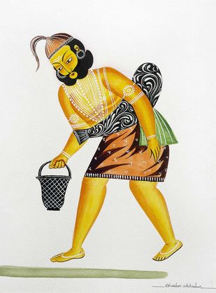 The Water-carrier by Bhaskar Chitrakar, Folk Painting, Natural colours on paper, Desert Storm color