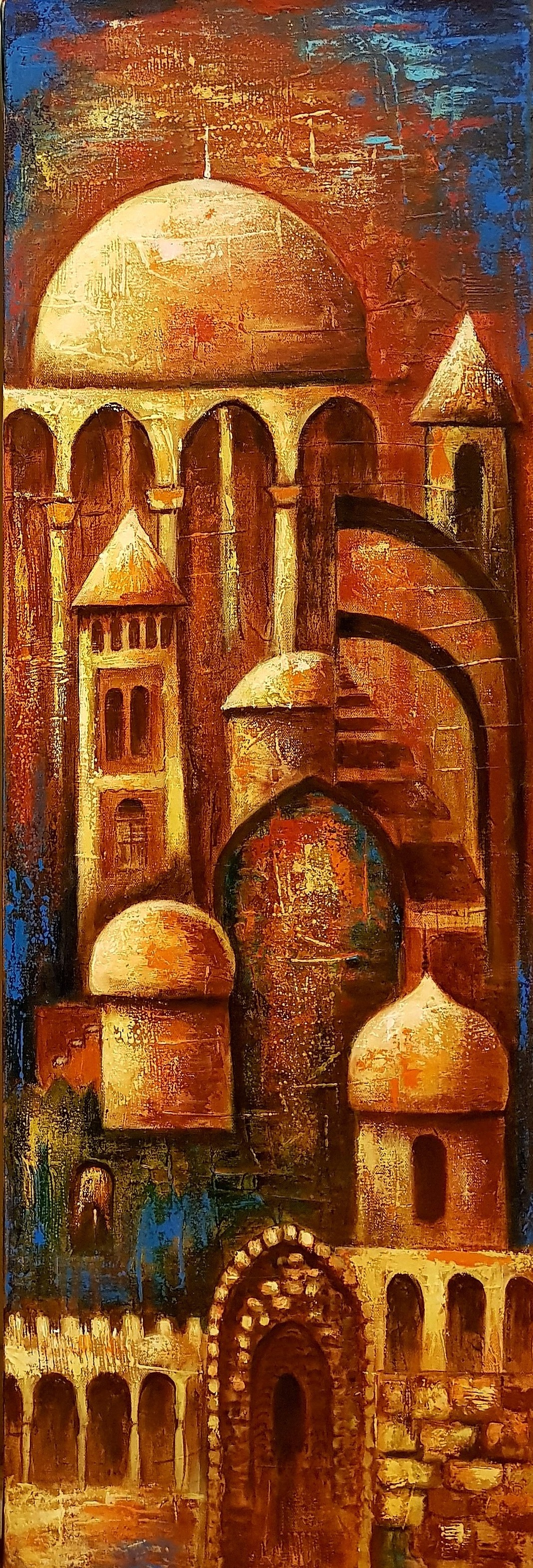 Confluence 2 by Neeti Aggarwal, Expressionism Painting, Acrylic on Canvas, Copper Canyon color