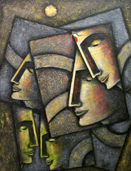 Journey by Neeti Aggarwal, Cubism Painting, Acrylic on Canvas, Armadillo color