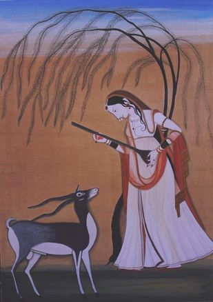Kangra art by Shiv.vani, Expressionism Painting, Watercolor on Paper, Beaver color