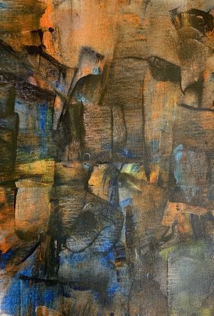 Cityscape by Amit Pithadia, Abstract Painting, Acrylic on Canvas, Tobacco Brown color