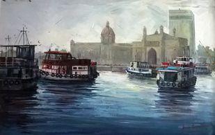 Mumbai by Iruvan Karunakaran, Impressionism Painting, Acrylic on Canvas, Oxford Blue color