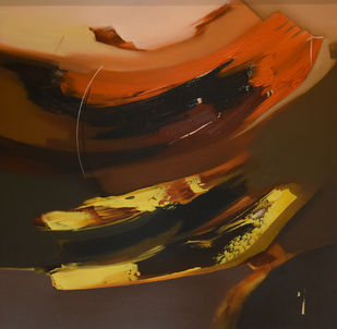 Poetics of Emotions LXXVII by Kandan G, Abstract Painting, Acrylic on Board, Copper color