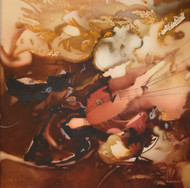 Poetics of Emotions LXXX by Kandan G, Abstract Painting, Acrylic on Board, Antique Brass color