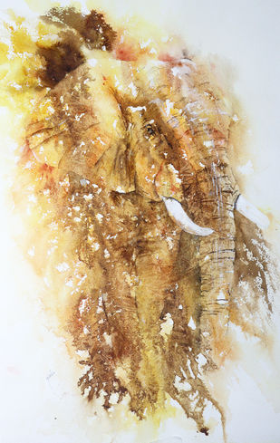Vulnerable by Nisha Sehjpal, Abstract Painting, Watercolor on Paper,