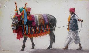 Gangireddu 11 by Iruvan Karunakaran, Expressionism Painting, Acrylic on Canvas, Cloud color