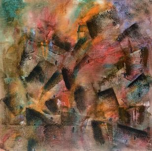Cityscape by Amit Pithadia, Abstract Painting, Acrylic on Canvas, Roman Coffee color