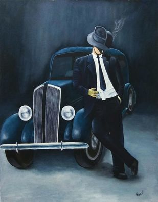 The Gangster by Murad, Expressionism Painting, Oil on Canvas, Ebony Clay color