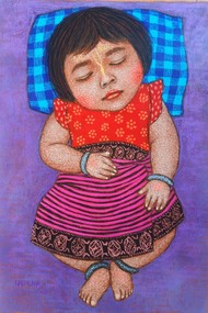 Lullaby 15 by Meena Laishram, Expressionism Painting, Pastel on Paper, Violet Purple color