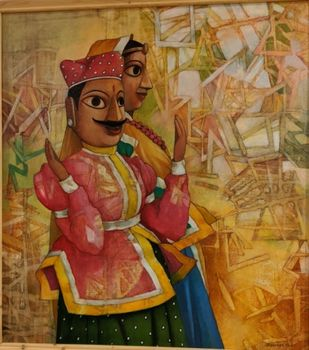 Puppet by Bhaskar Rao, Expressionism Painting, Acrylic on Canvas, Metallic Sunburst color