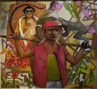 Lord Hanuman B by Bhaskar Rao, Expressionism Painting, Acrylic on Canvas, Irish Coffee color