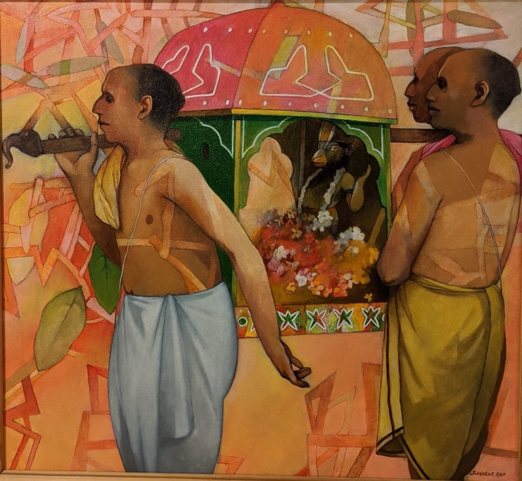 Hanuman Jayanthi by Bhaskar Rao, Expressionism Painting, Acrylic on Canvas, Potters Clay color