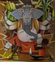 Lord Ganesha by Bhaskar Rao, Expressionism Painting, Acrylic on Canvas, Quincy color