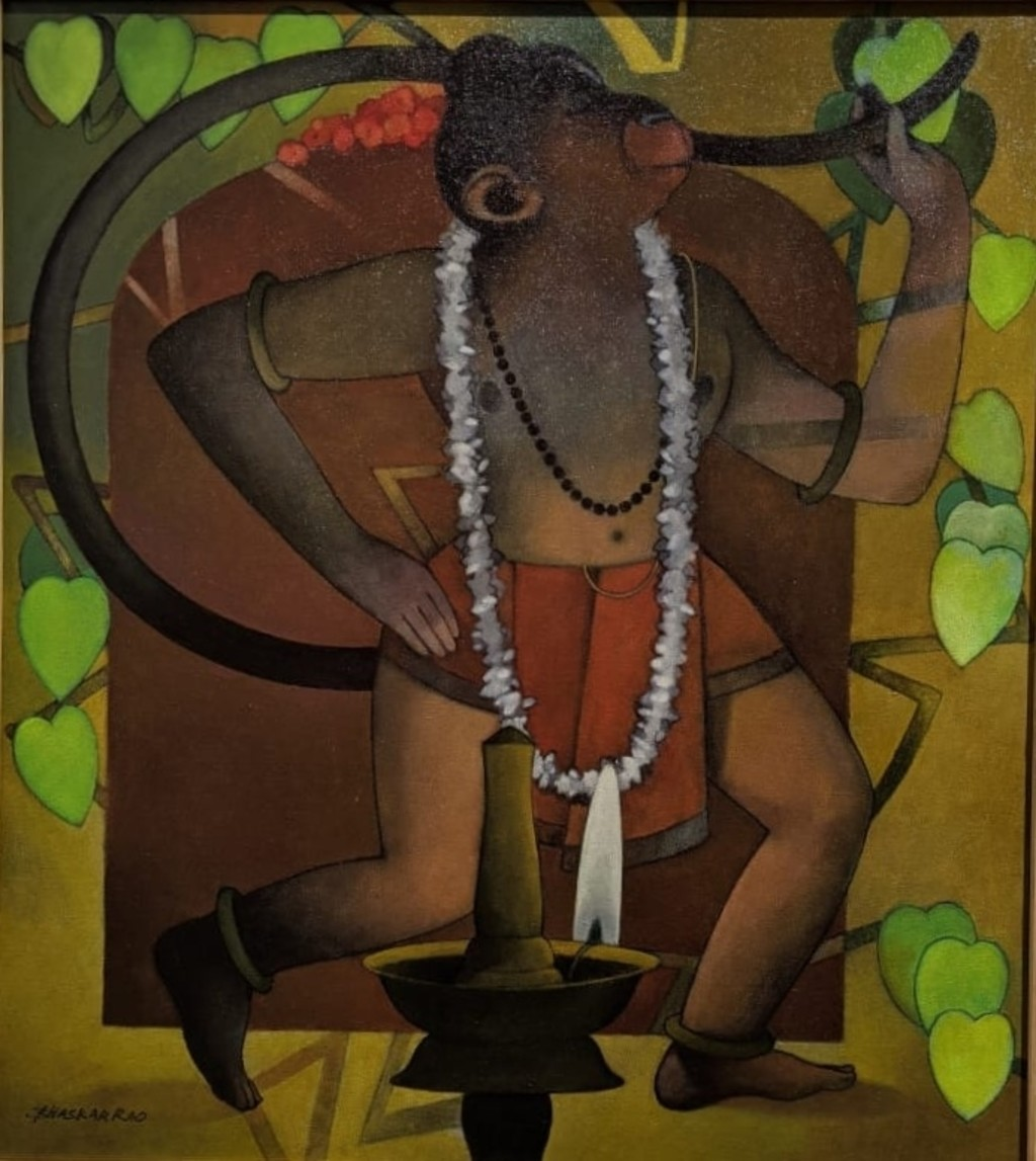Lord Hanuman A by Bhaskar Rao, Expressionism Painting, Acrylic on Canvas, Metallic Bronze color