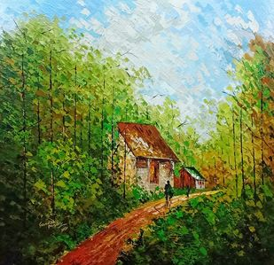 My village 4 by Ganesh Panda, Expressionism Painting, Acrylic on Canvas, Camouflage color