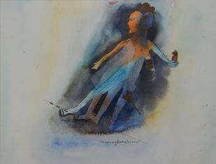 sensations by Neeraj Bakshi, Expressionism Painting, Watercolor on Paper, Bright Gray color