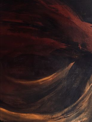 Whelve by Bhargavi Kaushik, Abstract Painting, Acrylic on Canvas, Cocoa Brown color