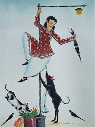 """Pole-dancing' Babu by Bhaskar Chitrakar, Folk Painting, Natural colours on paper, Submarine color"