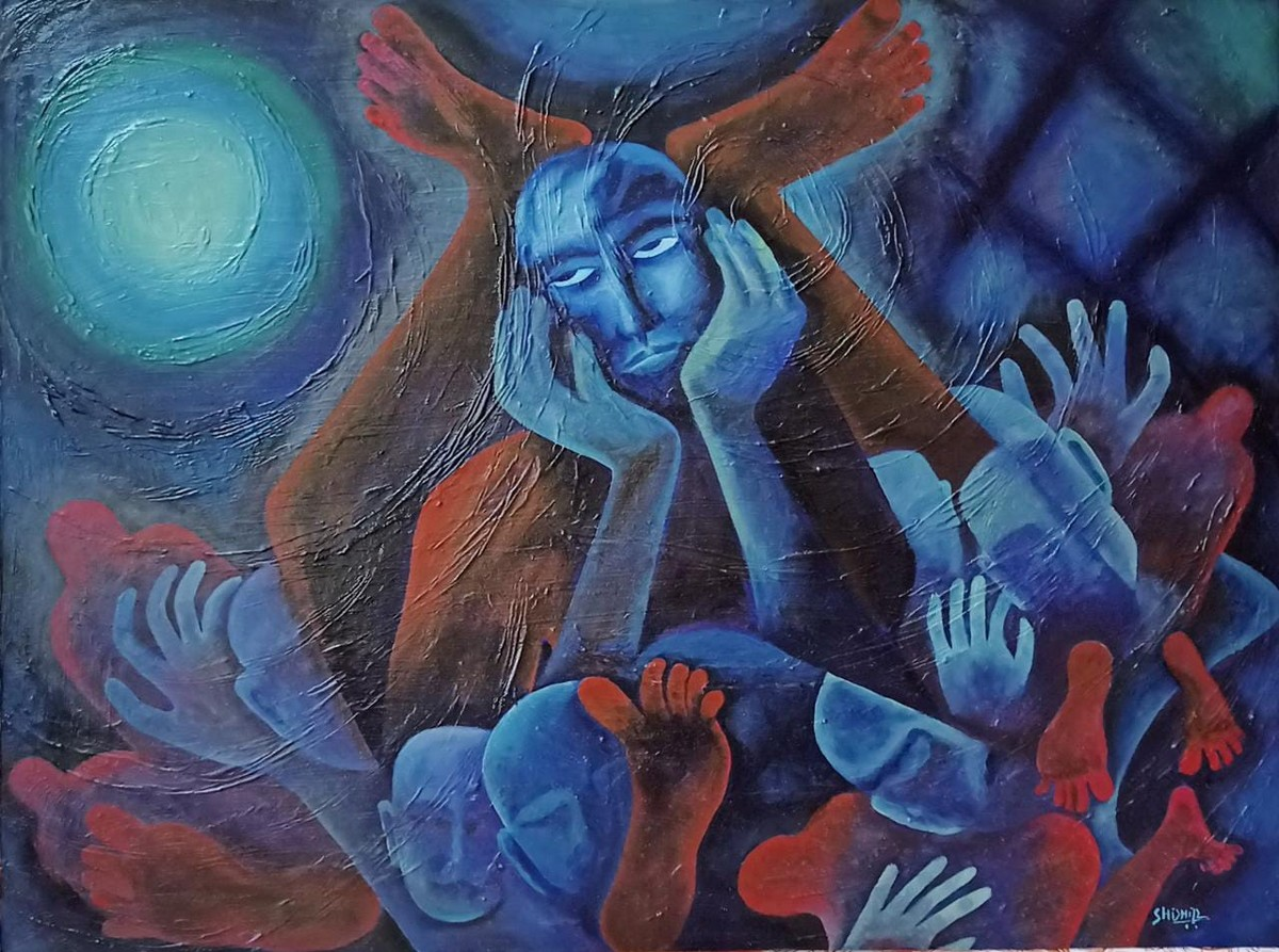 Lockdown by Shishir Pandey, Expressionism Painting, Oil on Canvas, Fiord color