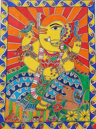 Handmade Mandhubani Painting- Lord Ganesh by Archana, Folk Painting, Acrylic and Pen on paper, Copper color